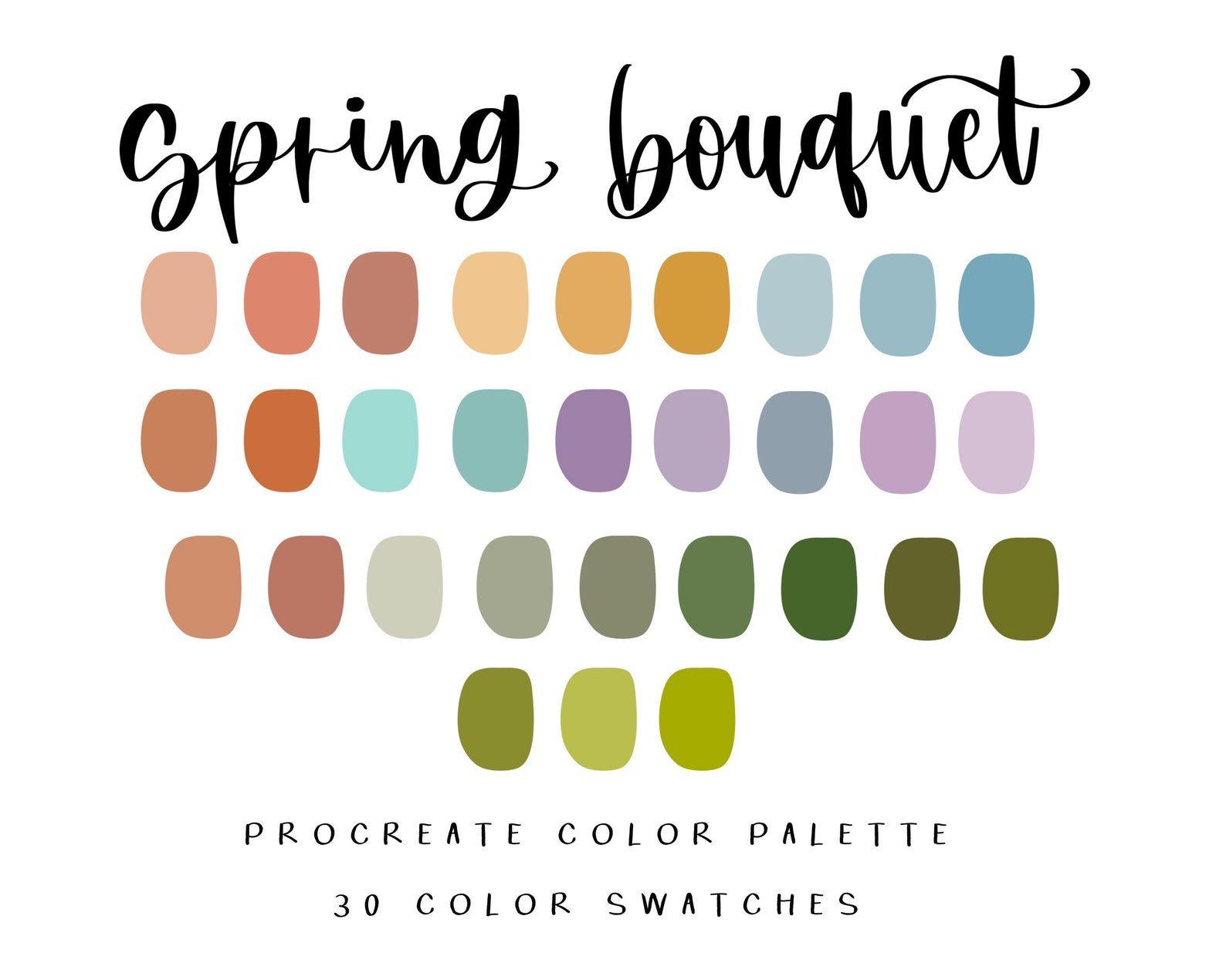 Spring bouquet procreate palette/procreate color palette/instant download