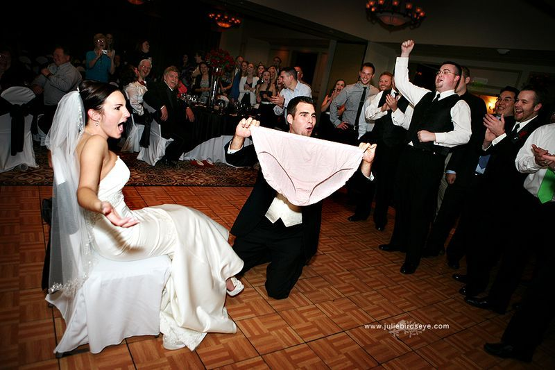 Of course, Jum loves the idea of a funny garter toss! Pulling out