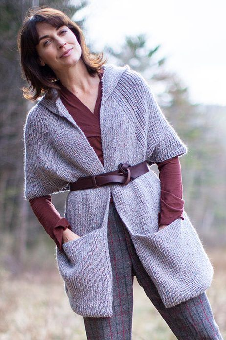 cb4cb90b3e4d8 Free Knitting Pattern for Tamarind Wrap with Pockets and Hood - Berroco  Design Team s shawl   scarf features roomy pockets and a hood and is worked  in easy ...