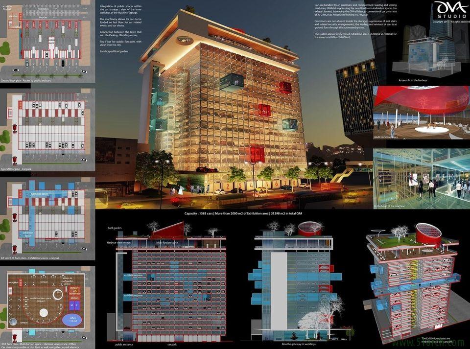OVA Studio designed the 'Car (t) park Harbour' in Hong Kong. http://en.51arch.com/2014/05/a2017-car-park-harbour/