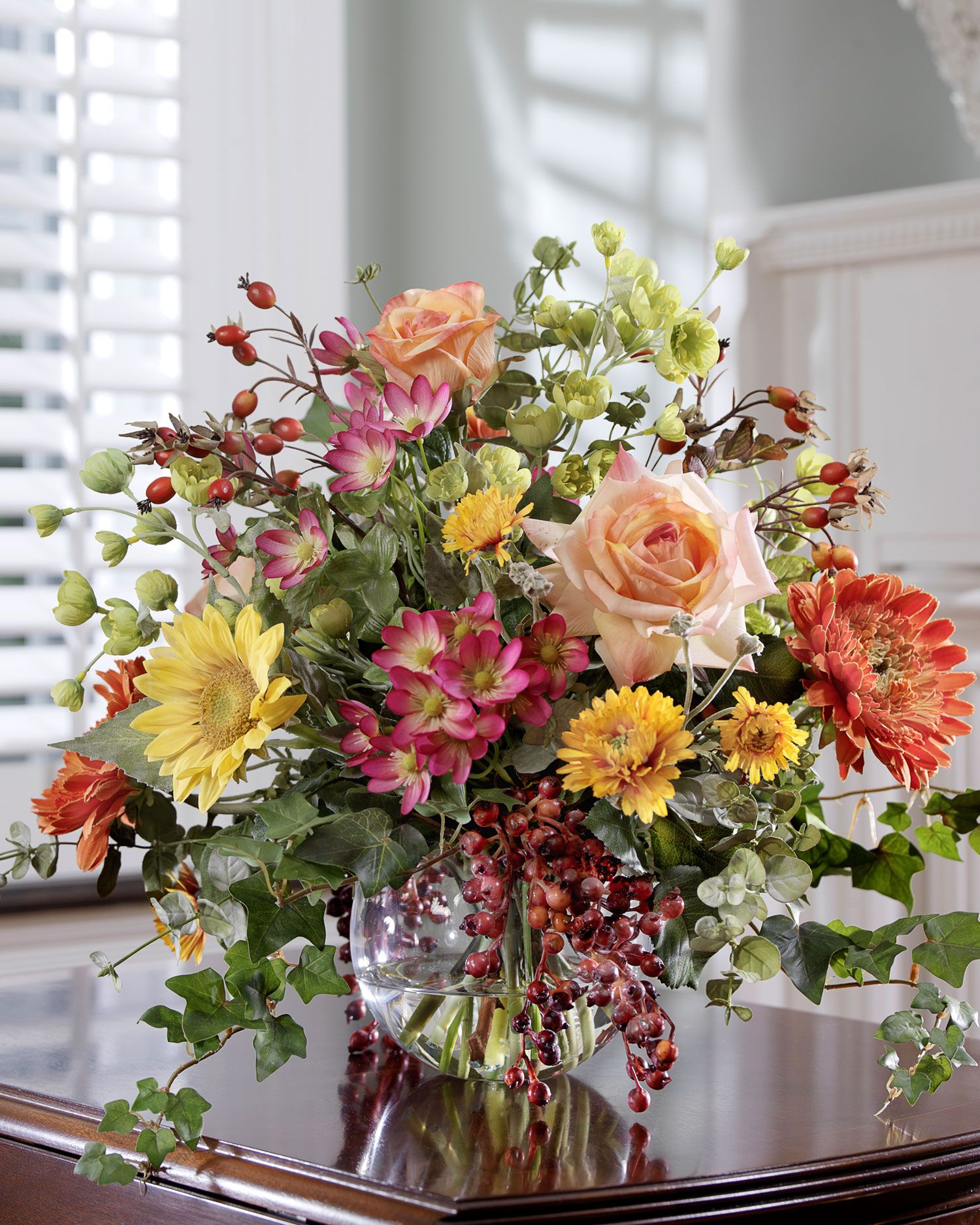 Mixed flower berry silk centerpiece zinnias and