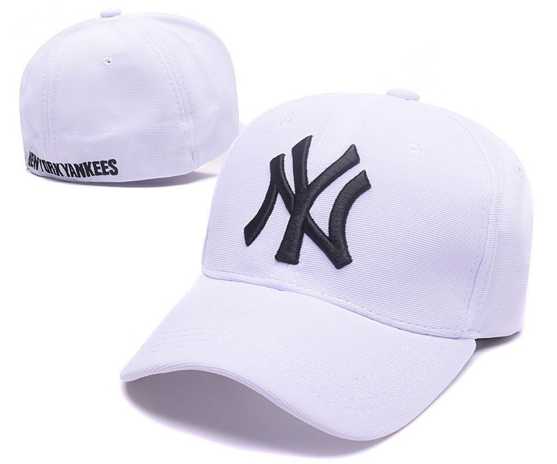 Men S Women S New York Yankees Ny Team Logo Embroidery Flexfit Hat White Black Fitted Baseball Caps Baseball Cap Ny Yankees
