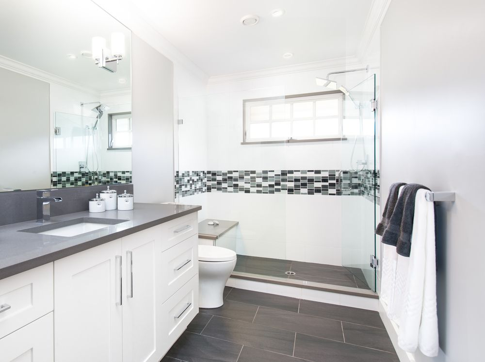 Incroyable White U0026 Gray Bathroom   Interior Design Of A Home In Richmond, BC By AK  Interiors   Shower, Mosaic Tile, Gray Countertop, Gray Tile Floor, White  Cabinet