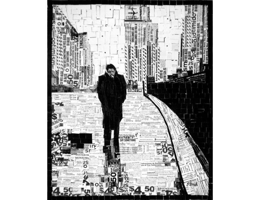 German designer, Nina Boesch's  NYC MetroCard collage 'James Dean'