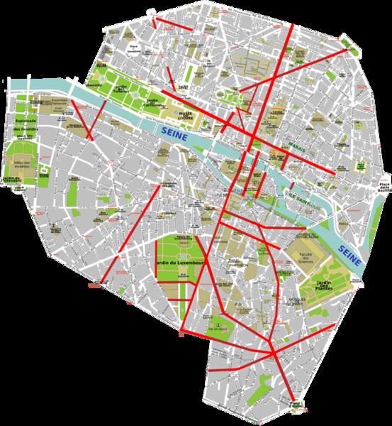 New Roads Created In Paris By Baron Haussmann 1853 70 Paris Map Paris Old Paris