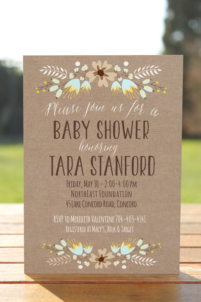 Rustic baby shower invitation, burlap baby shower invite printable ...