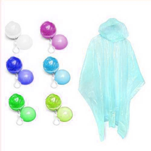 This disposable rain poncho is packed in golf ball shaped