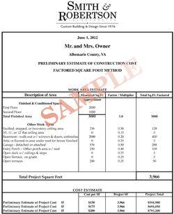 home renovation estimate sample