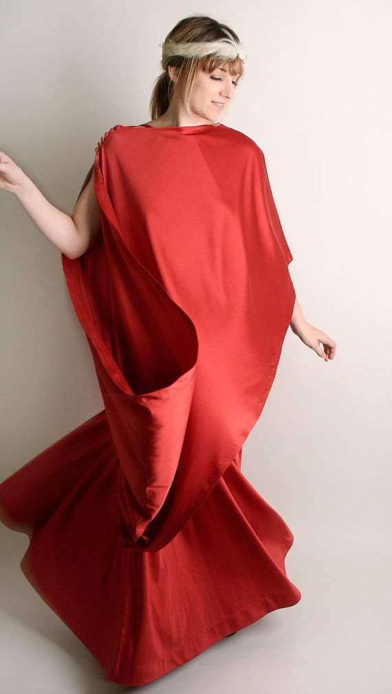 Vintage Maxi Dress - Roman Toga Dress Rust Brown 2 Piece Cassiopeia ...