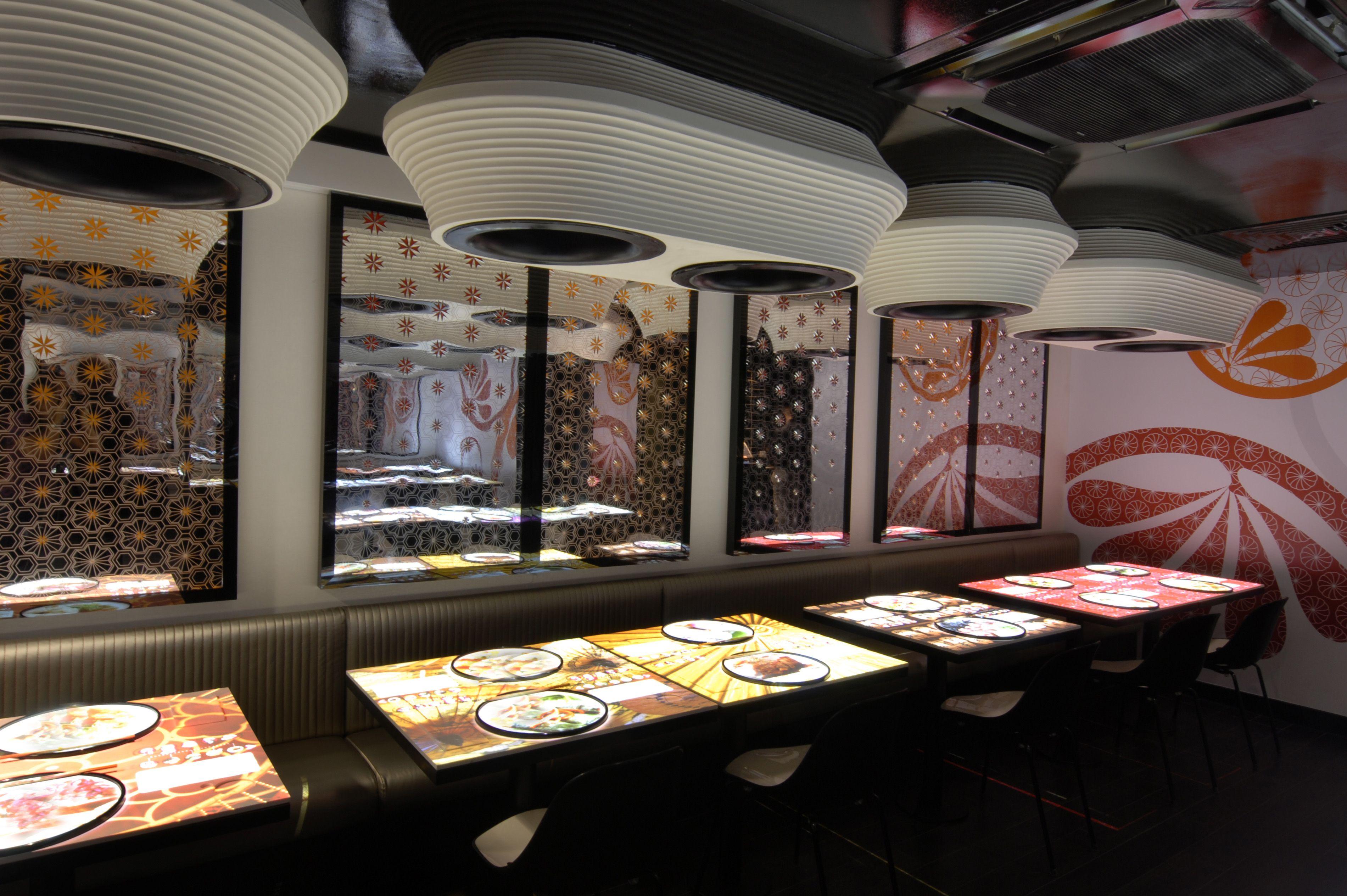 High tech restaurant design inamo london by blacksheep