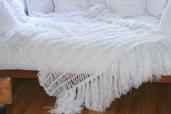 White Modern Bedding Minimalist Throw Home Decor Blanket Etsy Modern Bed Couch Blanket White Blanket