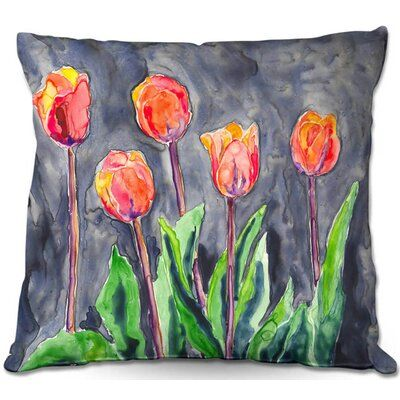 East Urban Home Couch Tulips Throw Pillow Size 16 X 16 Throw Pillows Tulip Painting Pillows