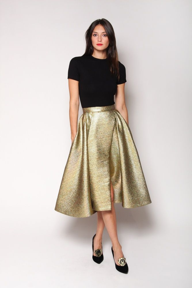 2d3520c4de Goregous Chrsitian Siriano Gold Pleated Swing Skirt | Wish List in ...