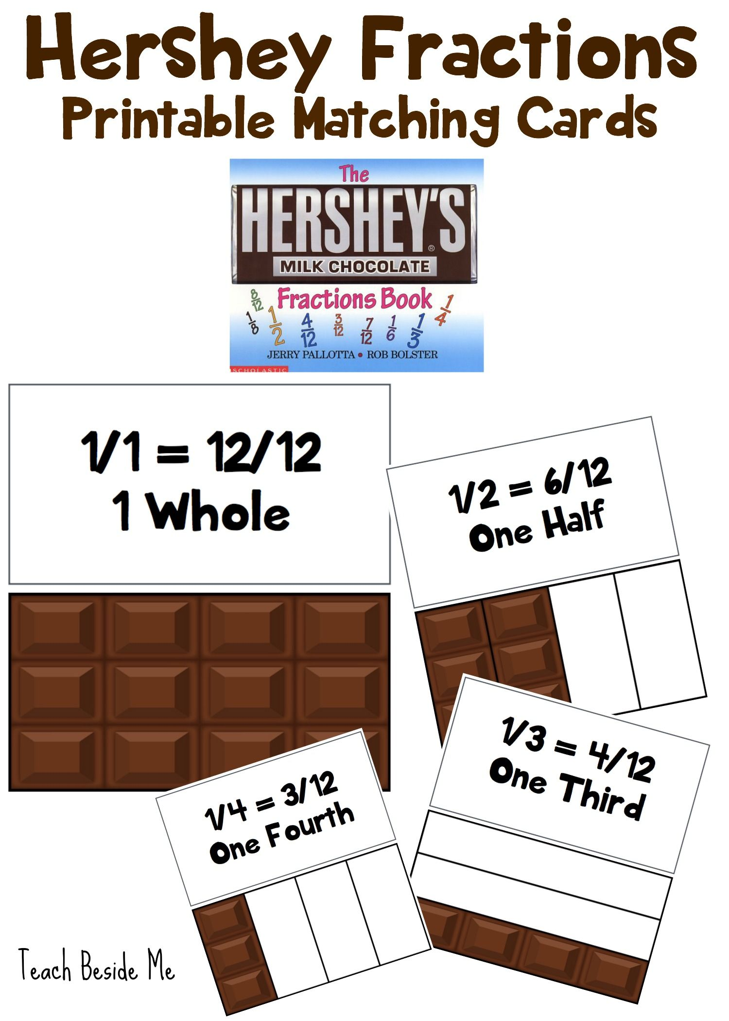 Hershey Fractions Printable Cards – Fraction Bar Worksheets Printable