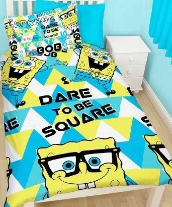 SpongeBob Happy  Dekbedovertrek  Eenpersoons  140 x 200
