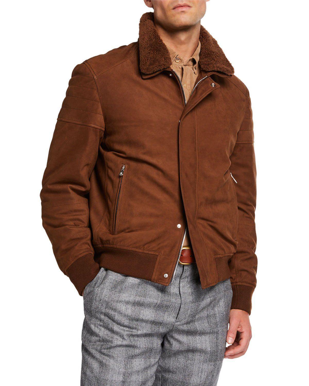 Brunello Cucinelli Men S Suede Moto Jacket With Shearling Collar Men S Coats Jackets Mens Coats Suede Moto Jacket [ 1500 x 1200 Pixel ]
