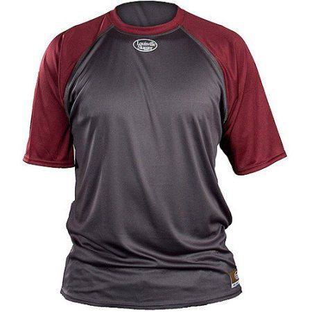 Louisville Slugger Adult Slugger Loose Fit Short Sleeve Shirt, Gray/Maroon, Size: Medium