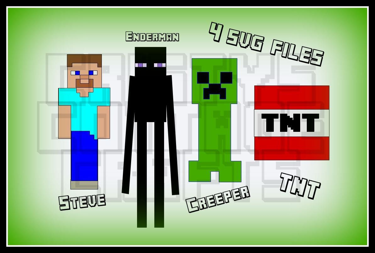 Mine Craft Svg Files Steve Creeper Enderman And A Tnt Market Day Ideas Svg Minecraft Birthday Party