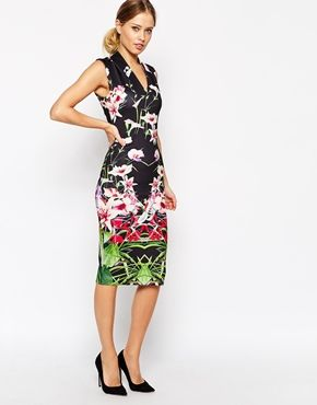 6f7014075a5a Ted Baker Midi Dress in Mirrored Tropical Print