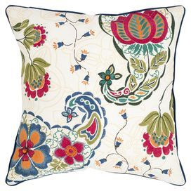 Feather-filled cotton and linen pillow with a paisley-inspired motif.  Product: Set of 2 pillowsConstruction Material: Linen and cotton cover and feather fillColor: MultiFeatures: Insert included