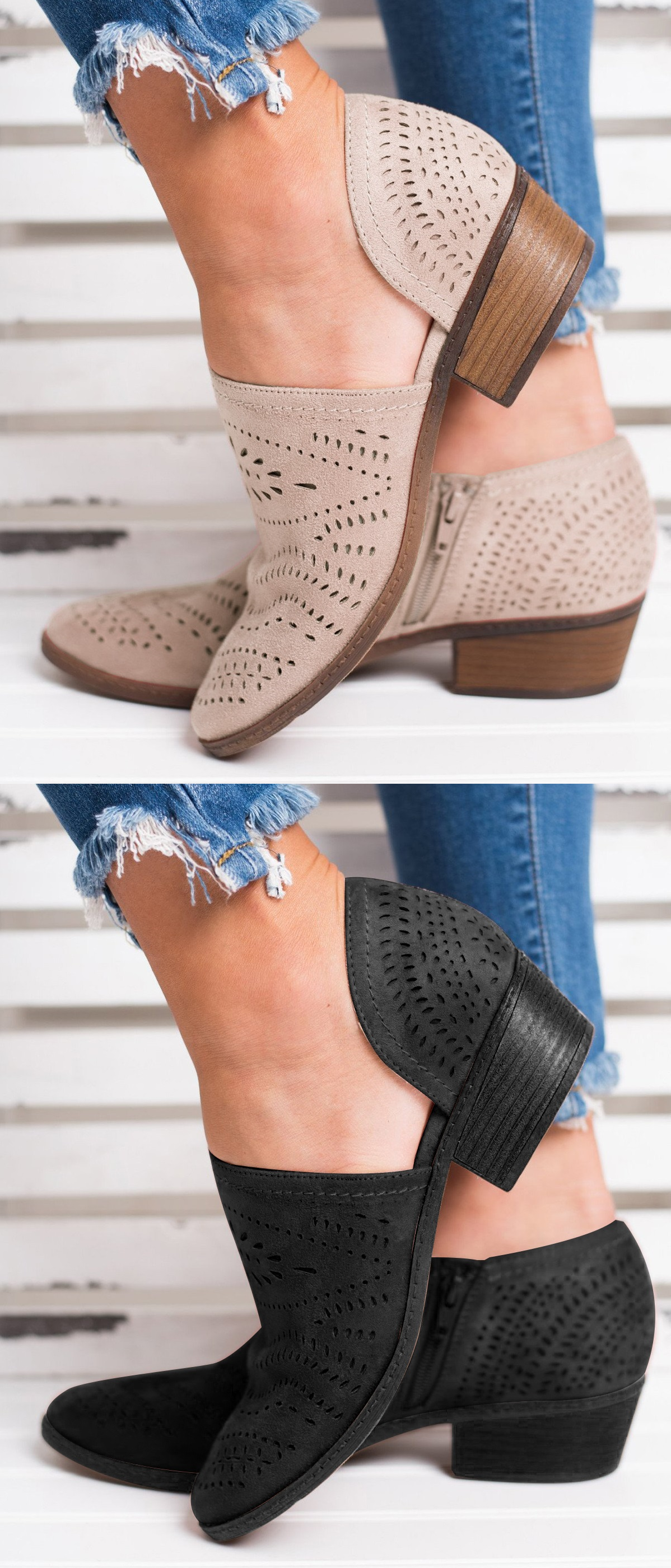 fc8d06f65a7f  37.99 USD Sale! Free Shipping! Shop Now! Hollow-out Low Heel Cutout  Booties Faux Suede Zipper Ankle Boots