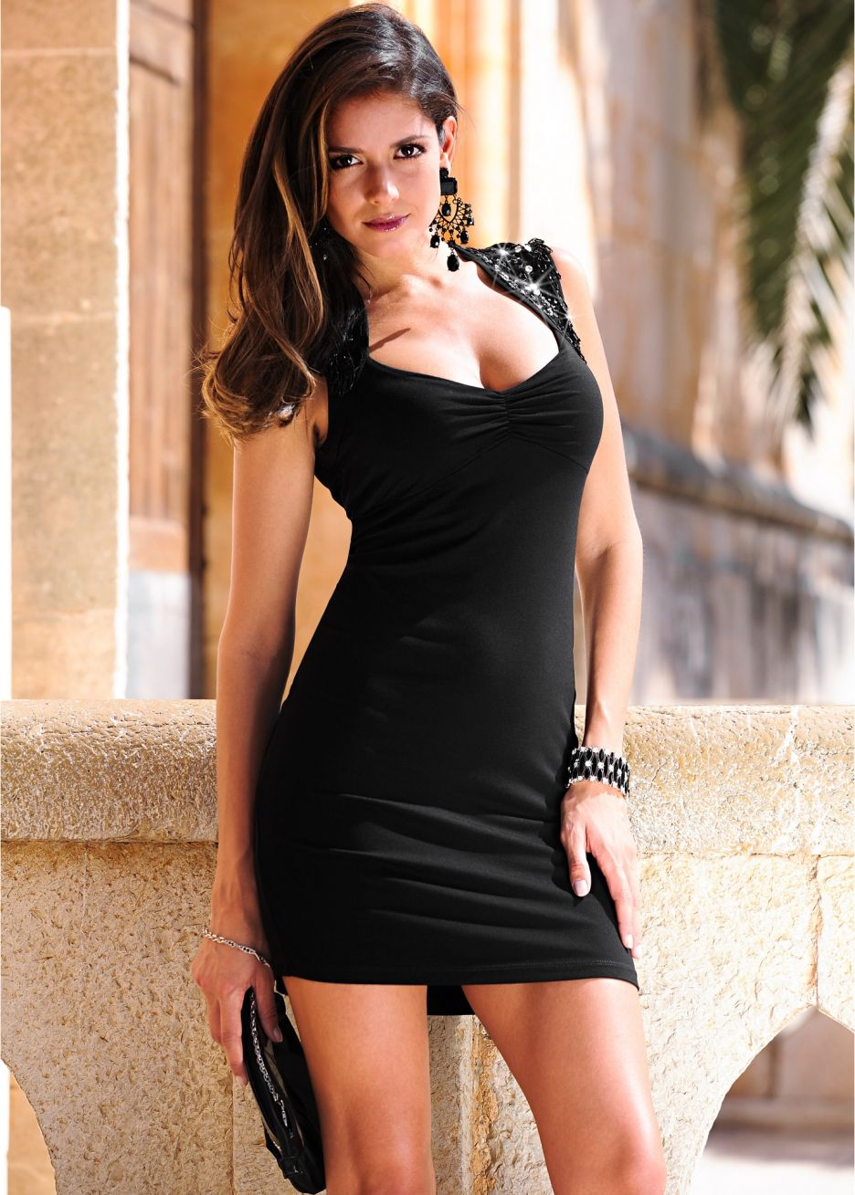 Black dress short tight