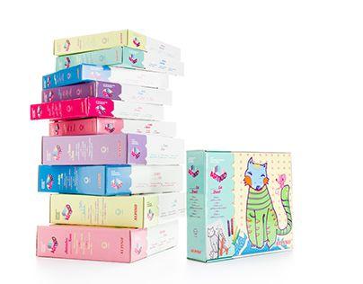 ALPINO ARTKID Naming, diseño de marca y packaging.  Diseño de packaging para kits de manualidades infantiles para la marca Alpino.