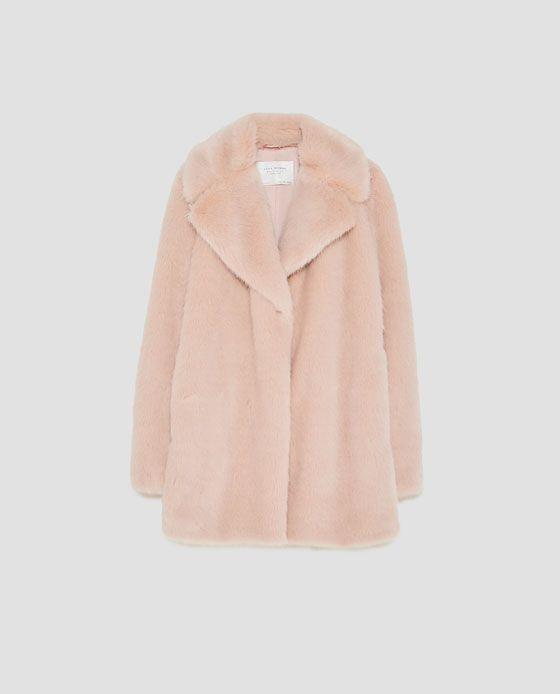 Impresionante Zara Negro Imitación piel abrigo con hombros