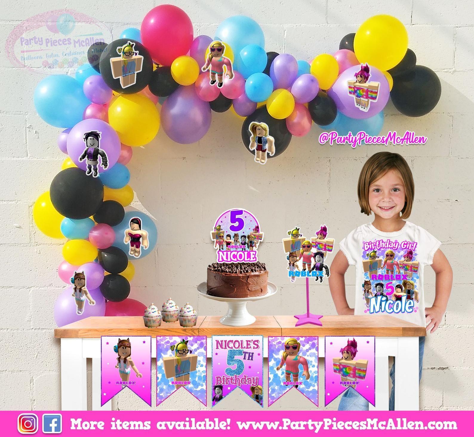Roblox Girl Party Package Roblox Balloons Diy Balloon Etsy Roblox Party Roblox Birthday Party Roblox Balloons
