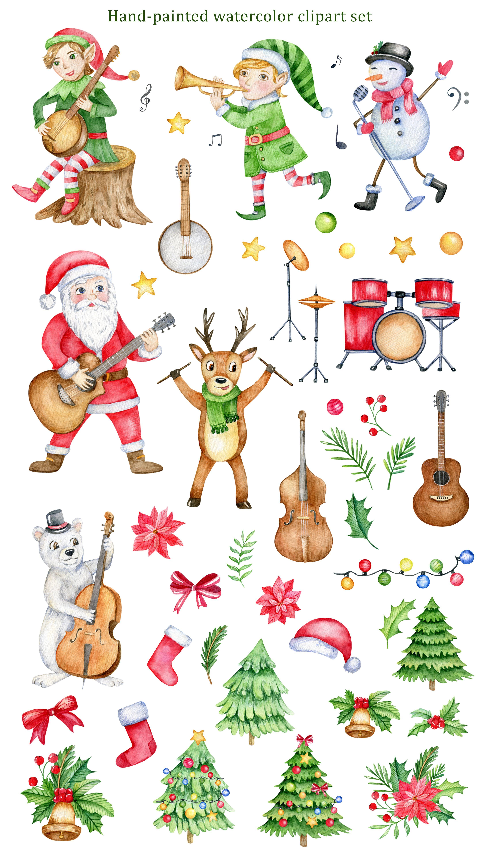Music Christmas Watercolor Clipart Cute Cartoon Santa Elf Reindeer Snowman Bear Watercolor Graphics Winter Holidays Watercolor Png Christmas Watercolor Bear Watercolor Watercolor Clipart