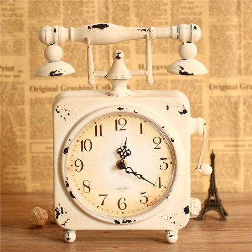 Vintage Retro Telephone White Table Clock Blue Products Topbuy Com Au Clock Table Clock Telephone Table
