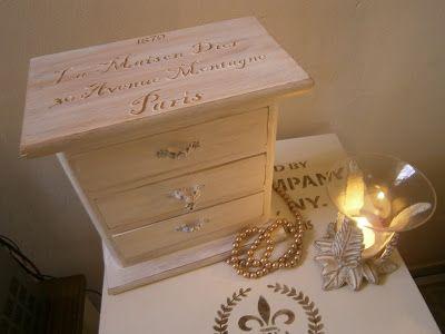 Joyero de 3 cajones con estarcido en relieve trabajos manualidades y bricolaje pinterest - Manualidades y bricolaje ...