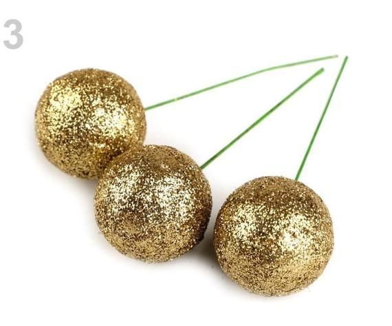 9pc 3 Gold Christmas Ornament Picks Ø27mm With Glitter, Christmas Wall, Christmas Sign, Christmas Farmhouse, Art Christmas, DecorationsSKU 62754Diameter 27 mmTotal Length 8 cmDecorating balls with glitter are mainly used for arranging. They are attached to a wire that is flexible. Usage: Decorating balls can be arranged for Christmas wreaths and bindings. They are also suitable for embossing into polystyester shapes.Please note, it's common description for big package. Accurate packing type/size