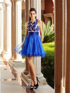 334ac171075 A-Line Princess Sleeveless Bateau Short Mini Net Beading Dresses ...