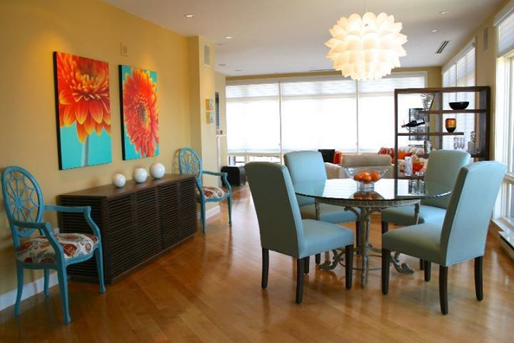 awesome turquoise kitchen cabinets dining | Turquoise kitchen with orange accent, white cabinets ...
