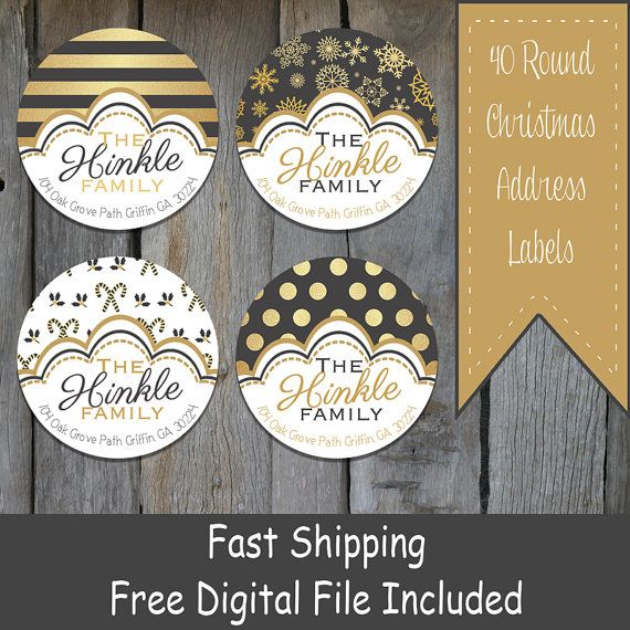 40 Round Black/Gold Christmas Themed Address by OhBabyStickers