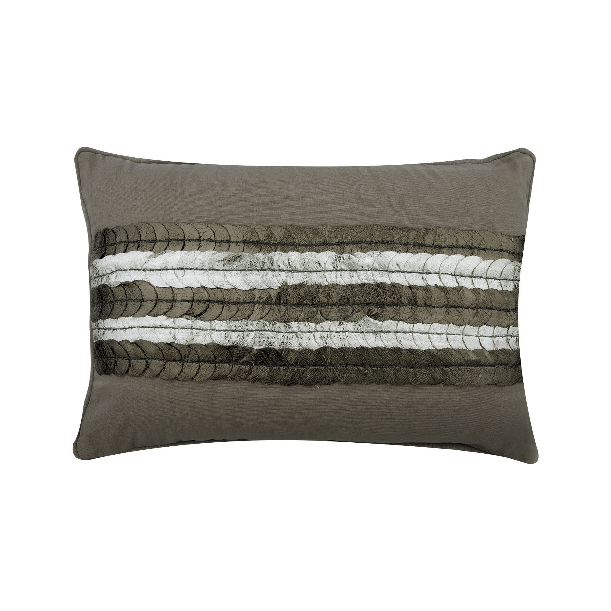 """WHY NEXT 4 X 18/"""" GREY FAUX SUEDE//SILVER METALLIC VELOUR STRIPE  CUSHION COVERS"""