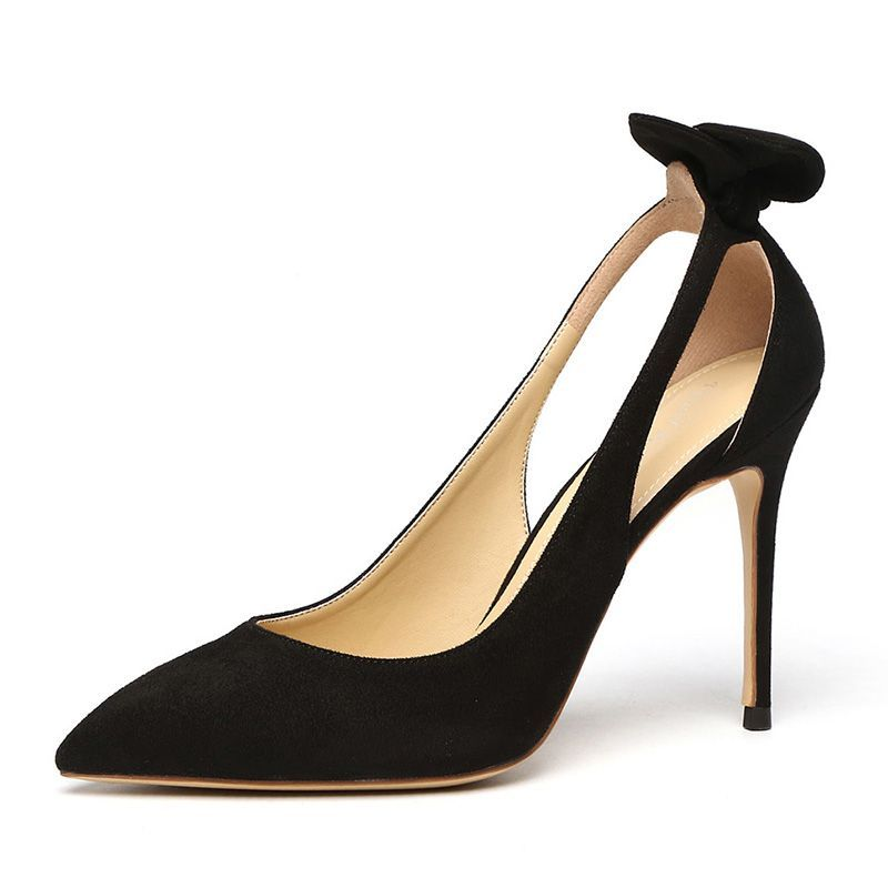 Elegant Black Casual Womens Shoes 2019 Leather Suede Bow 10 Cm Stiletto Heels Pointed Toe High Heels Heels Stiletto Heels Women Shoes