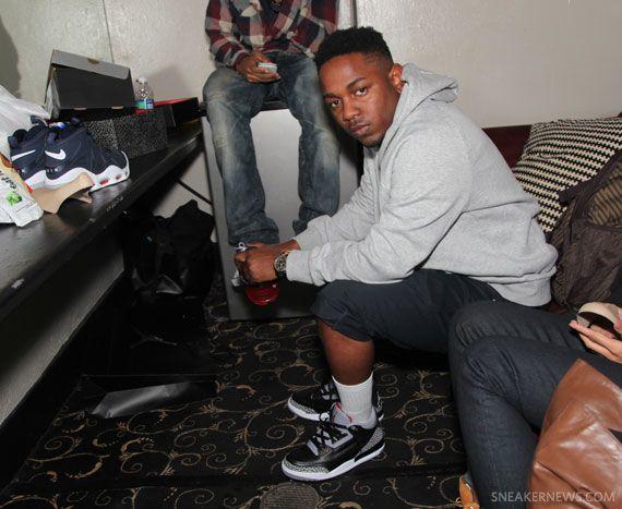 ed67a1a86233 Celebrity Feet  Kendrick Lamar - Air Jordan III Black Cement ...