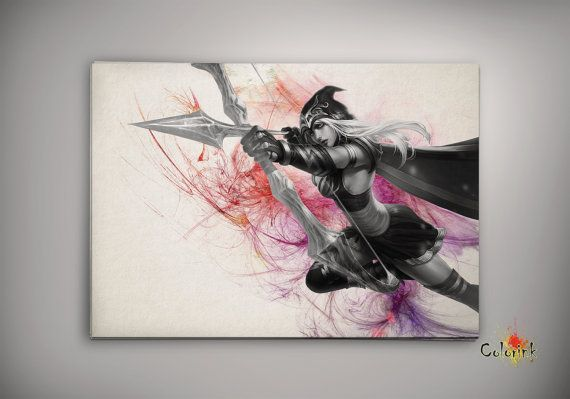 League of Legends LoL Ashe Watercolor illustrations Print Wall Art Poster Giclee Wall Decor Wall Hanging Modern Geek Multi Size n565