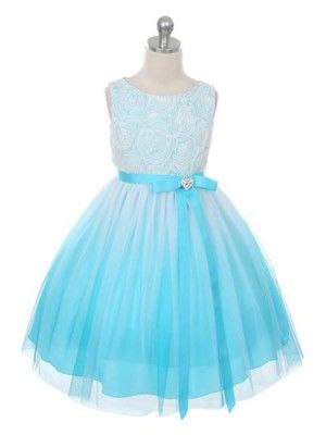9e35283a2 Aqua Stunning Ombre with Rosette Bodice Flower Girl Dress in Girls Size 2-14  in 3 Colors