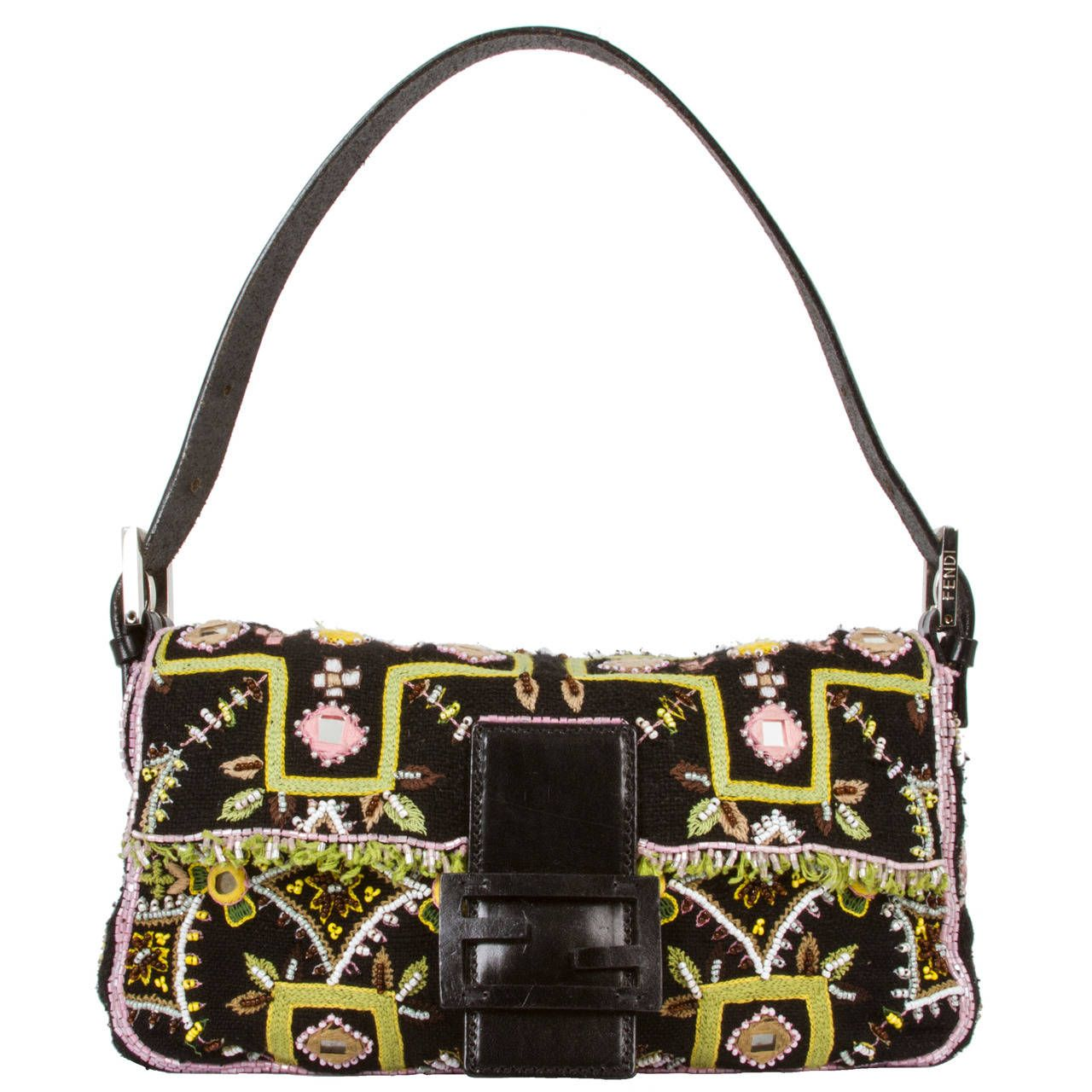 Fendi Beaded Mirrored And Embroidered Handbag