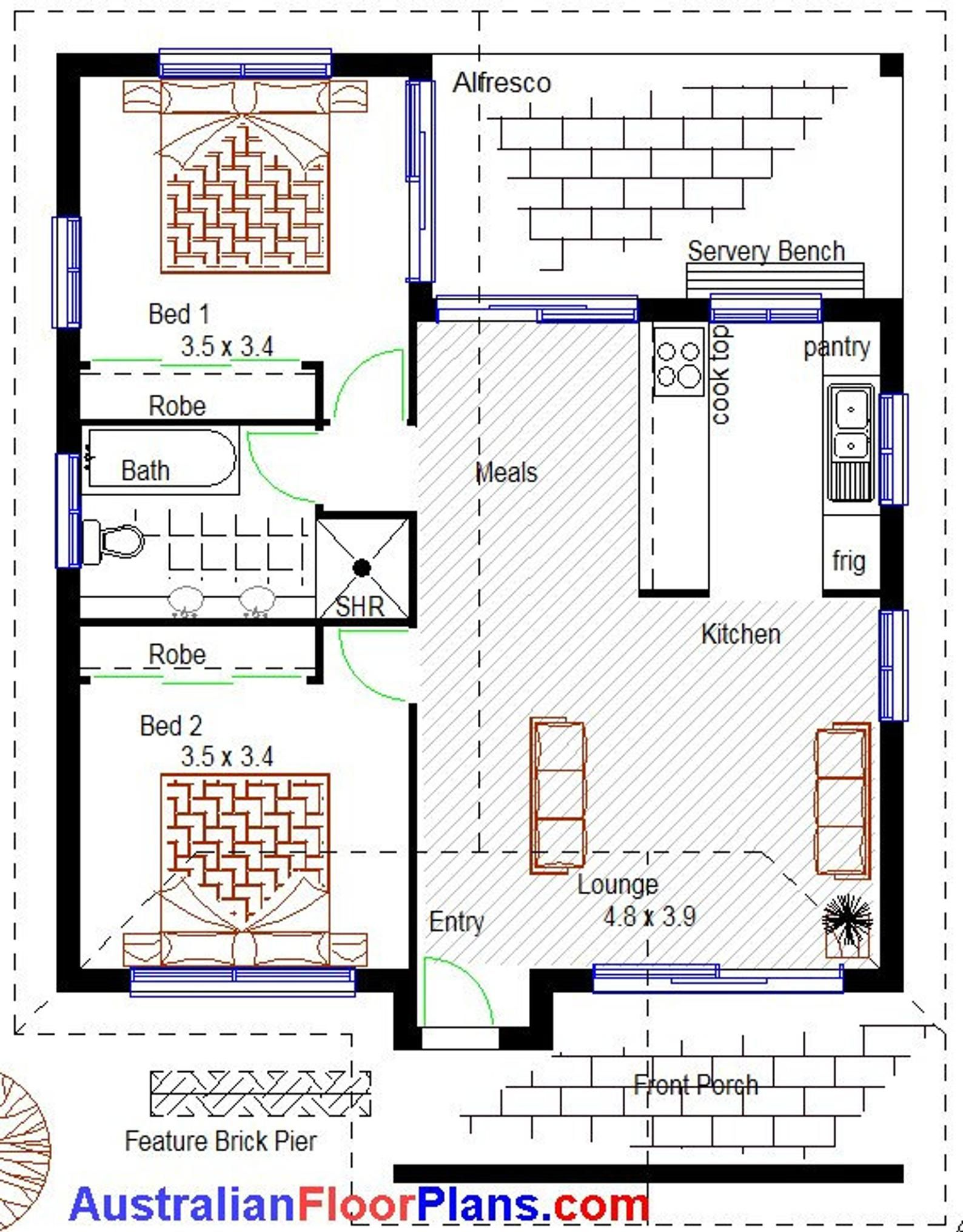 785 Sq Foot 73 M2 Two Bedroom Granny Flat 2 Bed Two Etsy House Construction Plan Granny Flat Plans House Floor Plans