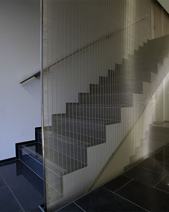 Staicase design with architectural mesh. | Balustrades and Railings ...