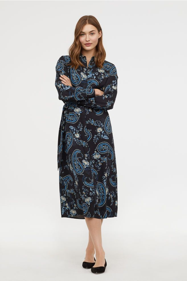 2140fde02c Calf-length Shirt Dress - Black floral - Ladies
