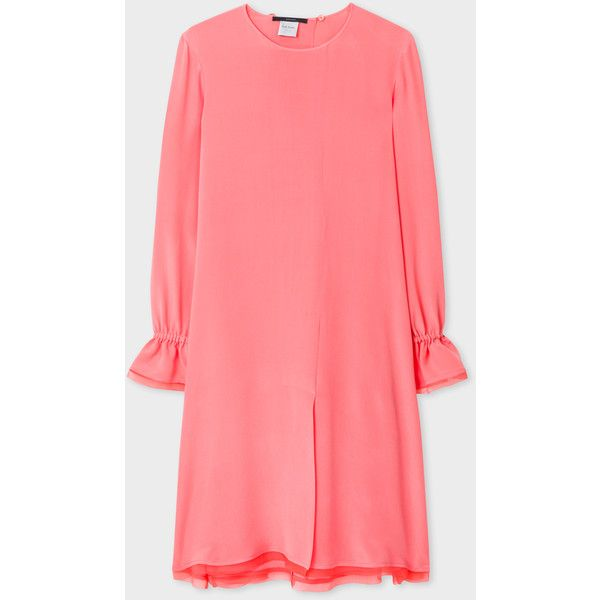 85eef2ccdb49 Paul Smith Women's Pink Bell-Sleeve Silk Dress ($1,070) ❤ liked on Polyvore  featuring dresses, pink long sleeve dress, long sleeve short dress, ...