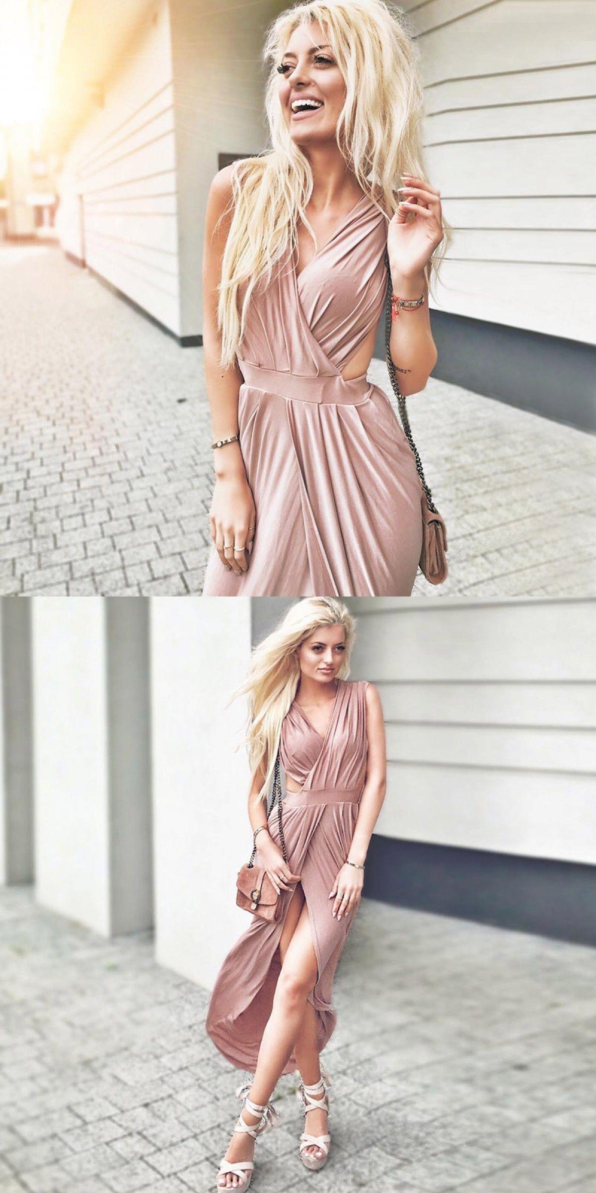 Aline vneck open back asymmetry pleated blush prom dress