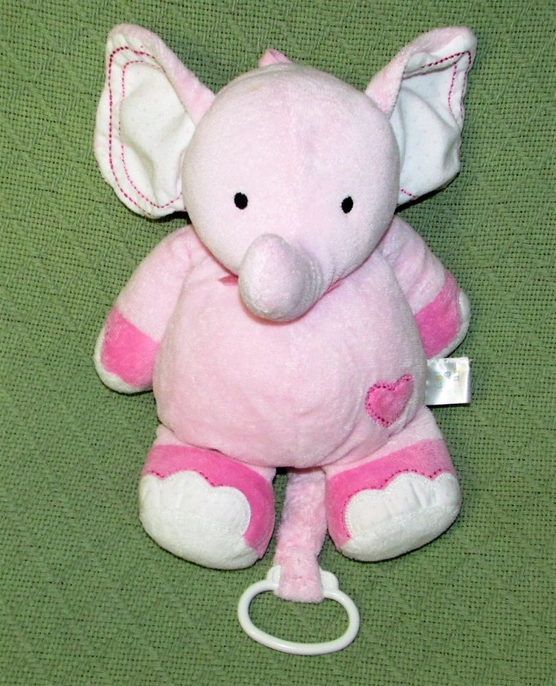 Just One Year Pink Heart Elephant Crib Pull Musical Plush Carter S