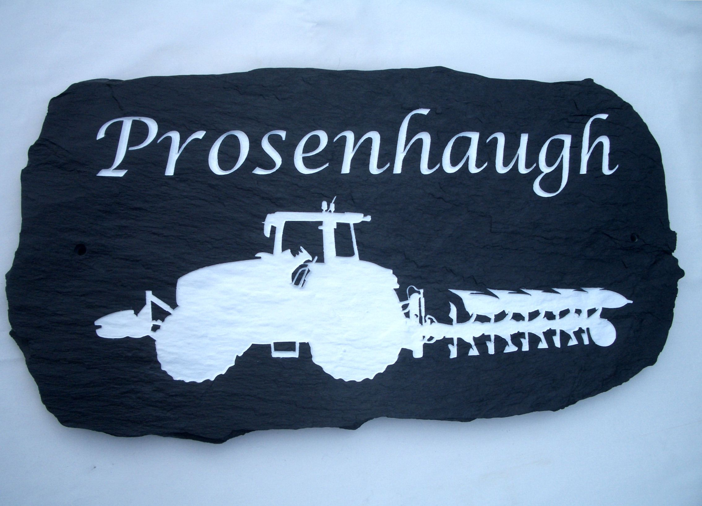 slate house plaque with engraved tractor image http://www