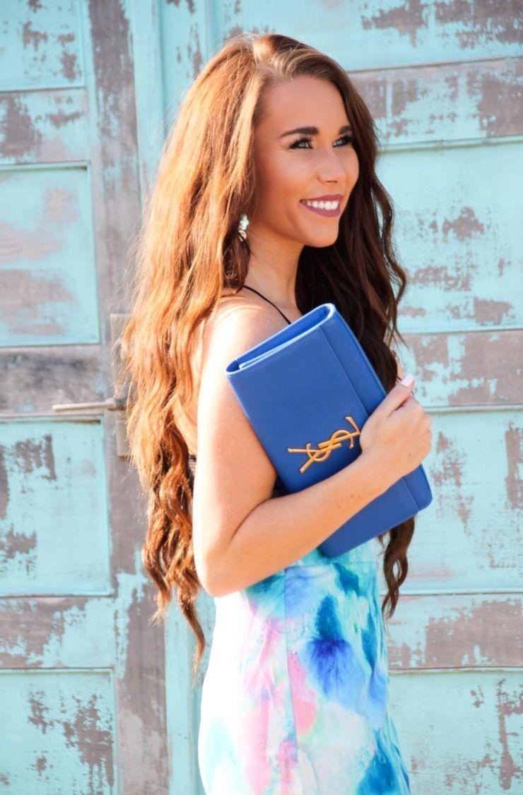 Watercolor Dress and YSL Clutch - Sunshine & Stilettos Blog